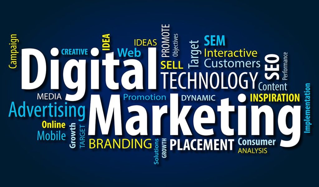 Graphic with words everyone and Digital Marketing in focus