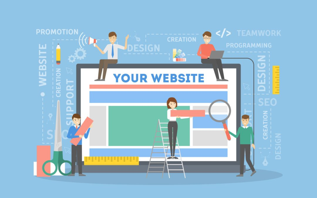 Infographic of people working on a website