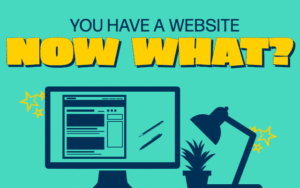 Title graphic saying you have a website now what above a computer outline graphic.